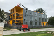 Container Module apartments and cherry picker