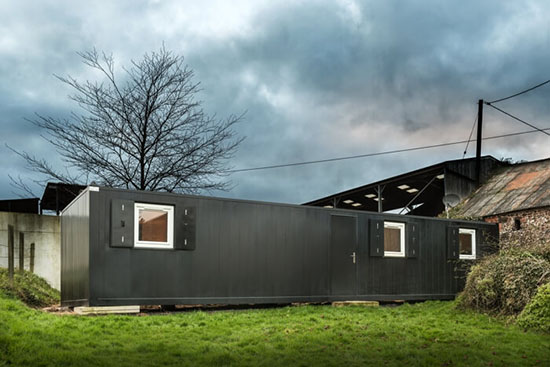 Slate grey container building