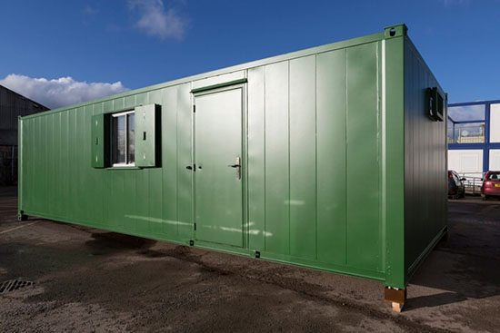 External view of container housing unit