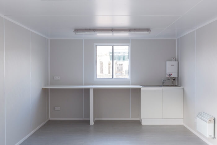 Container building kitchen area unfurnished